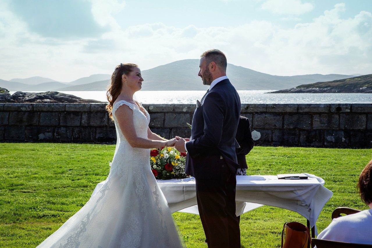 Adhuinnsuidhe Castle wedding venue holds a full civil wedding licence. You can choose to hold your ceremony in the Grand Hall or on the lawn looking out to the Isle of Taransay.