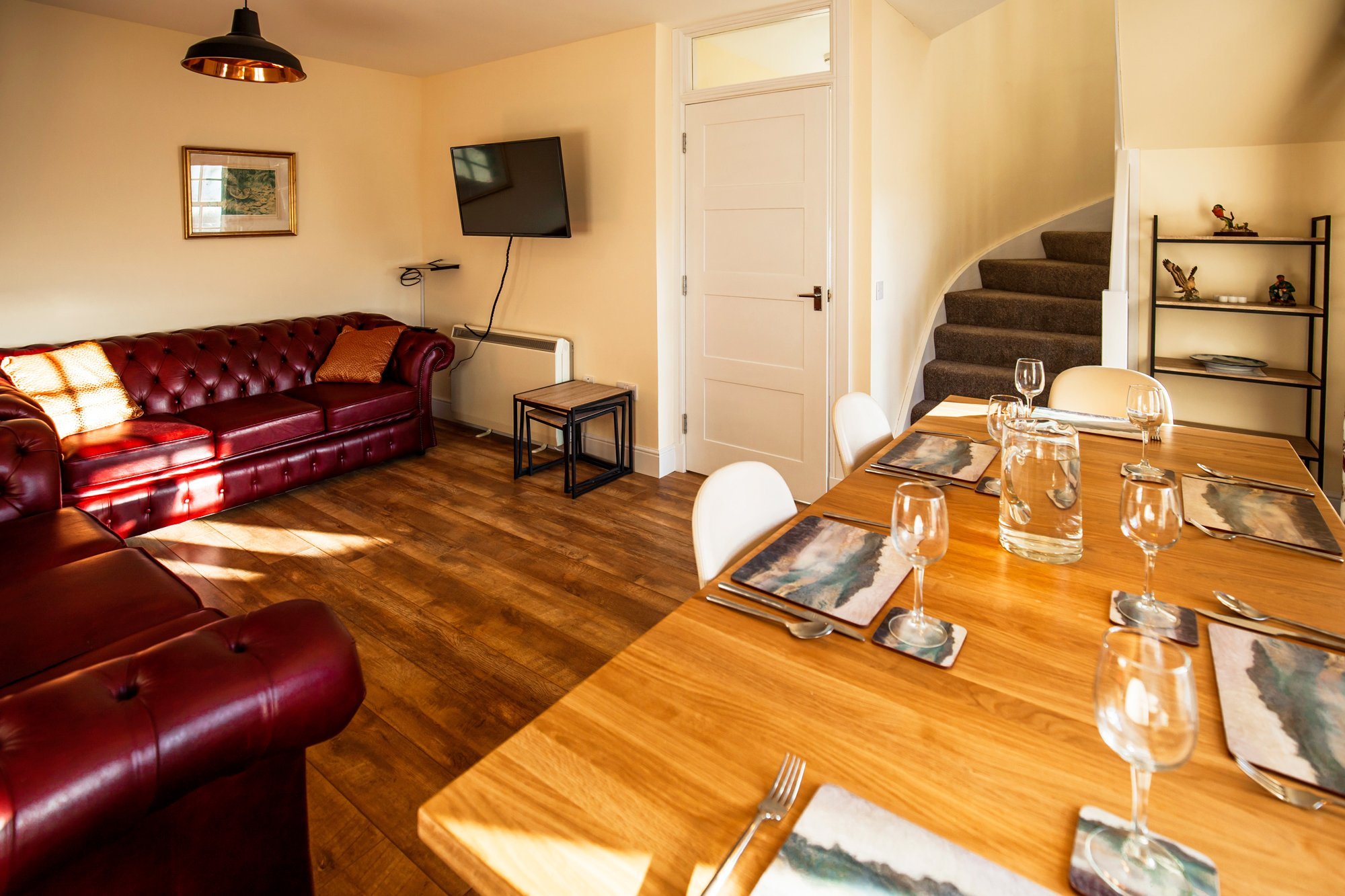 Amhuinnsuidhe holiday cottages. Castle Cottage for up to six people with views across Loch Leosavay to South Harris. Open plan living dining area. 2