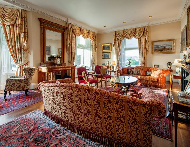 Amhuinnsuidhe Castle, Isle of Harris. The drawing room is home to important works of art and beautiful antiques.