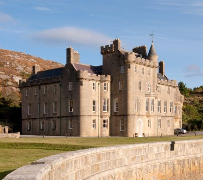 Exclusive use of Amhuinnsuidhe Castle for 12 guests. 4 estate ghillies, all fishing included. 1 day's stalking included.