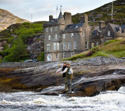 Exclusive use of Amhuinnsuidhe Castle for up to 18. 5 estate ghillies, all fishing included. 1 day's stalking included.