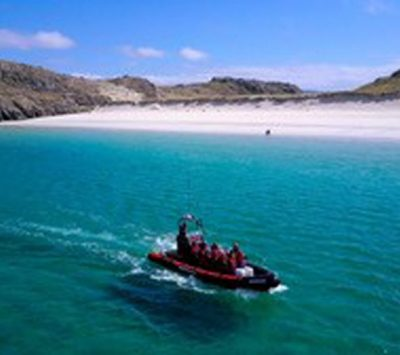 Explore the Outer Hebrides by boat from Morsgail. Explore uninhabited, picturesque beaches, spot whales, dolphins and sharks.