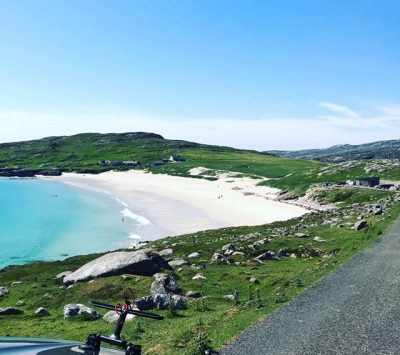 Harris boasts some of the best beaches in the world. Hushinish, Tràigh Mheilein and Luskentyre all close Amhuinnsuidhe Castle, Harris, Scotland.